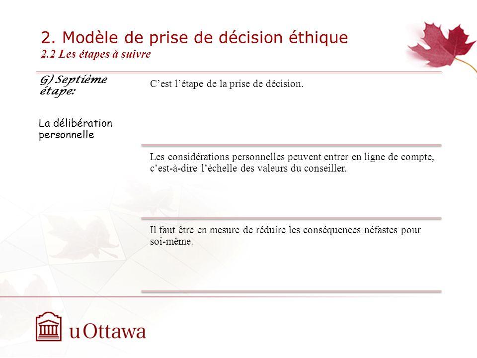 2. Modèle de prise de décision éthique 2.2 Les étapes à suivre EDU 5670 - semaine 3: La prise de décision éthique G) Septième étape: La délibération p