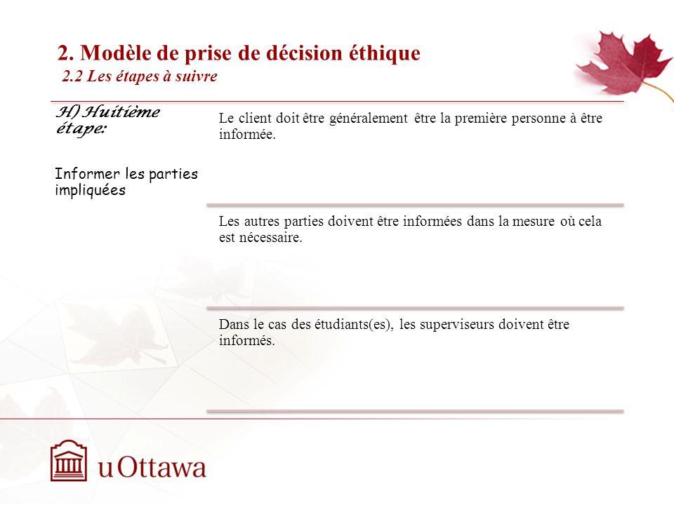 2. Modèle de prise de décision éthique 2.2 Les étapes à suivre EDU 5670 - semaine 3: La prise de décision éthique H) Huitième étape: Informer les part