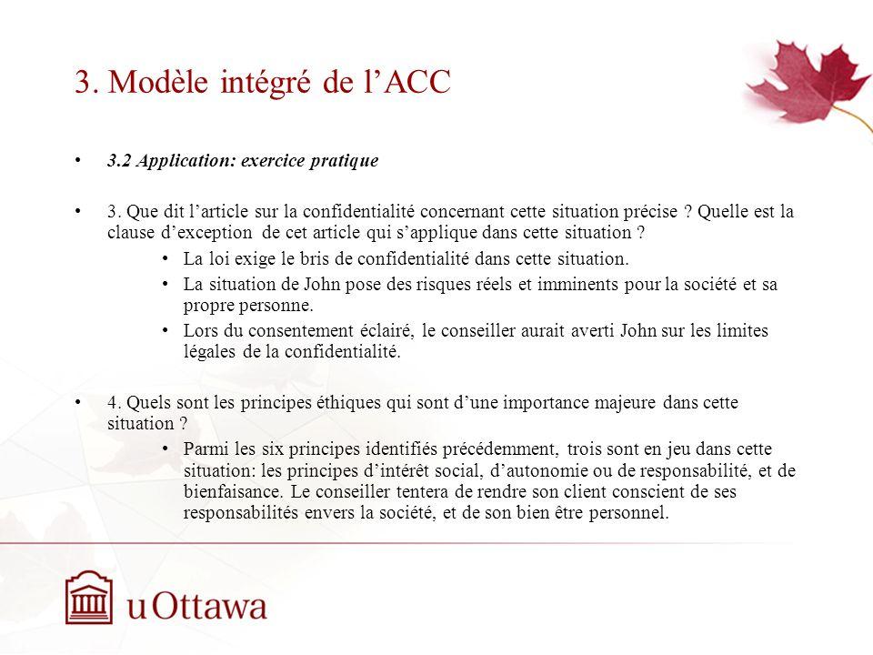 3.Modèle intégré de lACC 3.2 Application: exercice pratique 3.