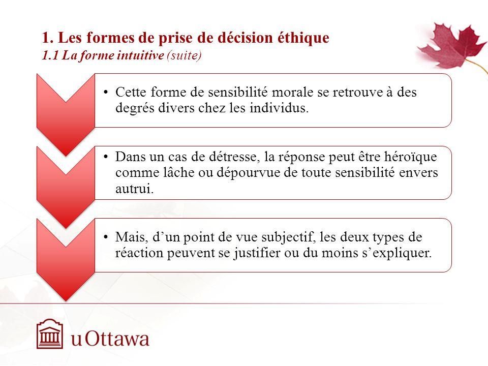 1. Les formes de prise de décision éthique 1.1 La forme intuitive (suite) EDU 5670 - semaine 3: La prise de décision éthique Cette forme de sensibilit