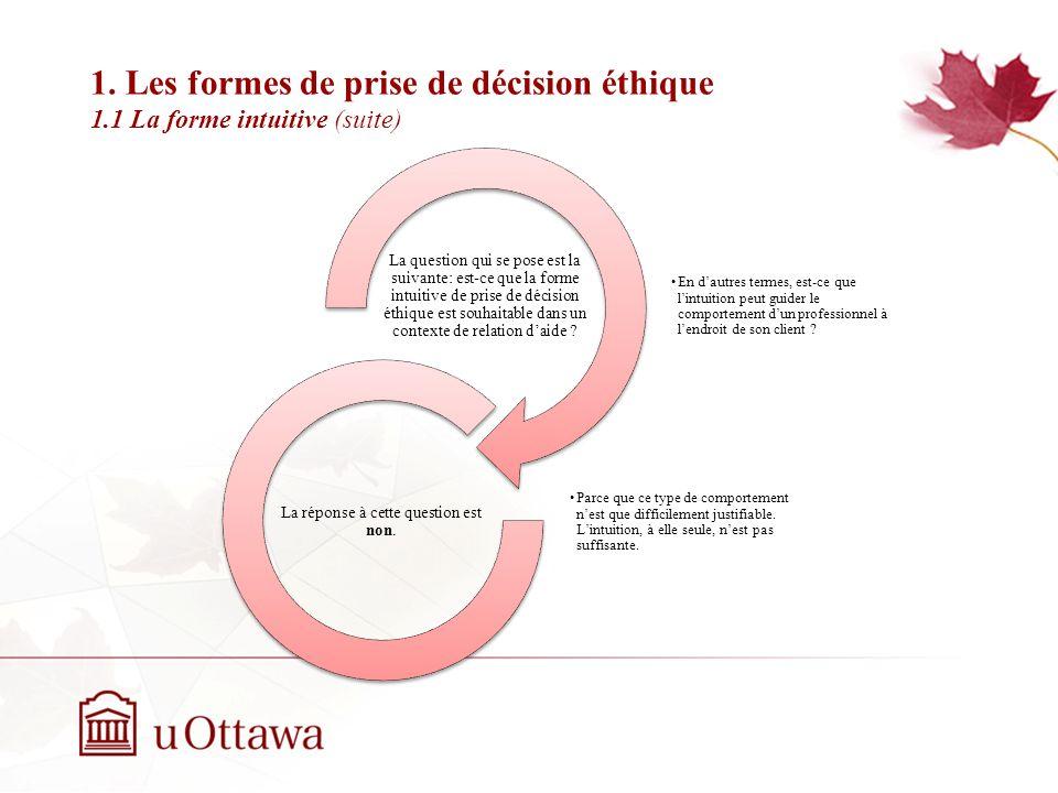 1. Les formes de prise de décision éthique 1.1 La forme intuitive (suite) EDU 5670 - semaine 3: La prise de décision éthique En dautres termes, est-ce