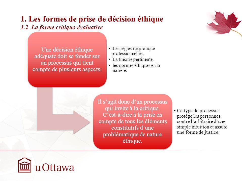 1. Les formes de prise de décision éthique 1.2 La forme critique-évaluative EDU 5670 - semaine 3: La prise de décision éthique Une décision éthique ad