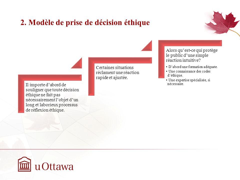 2. Modèle de prise de décision éthique EDU 5670 - semaine 3: La prise de décision éthique Il importe dabord de souligner que toute décision éthique ne