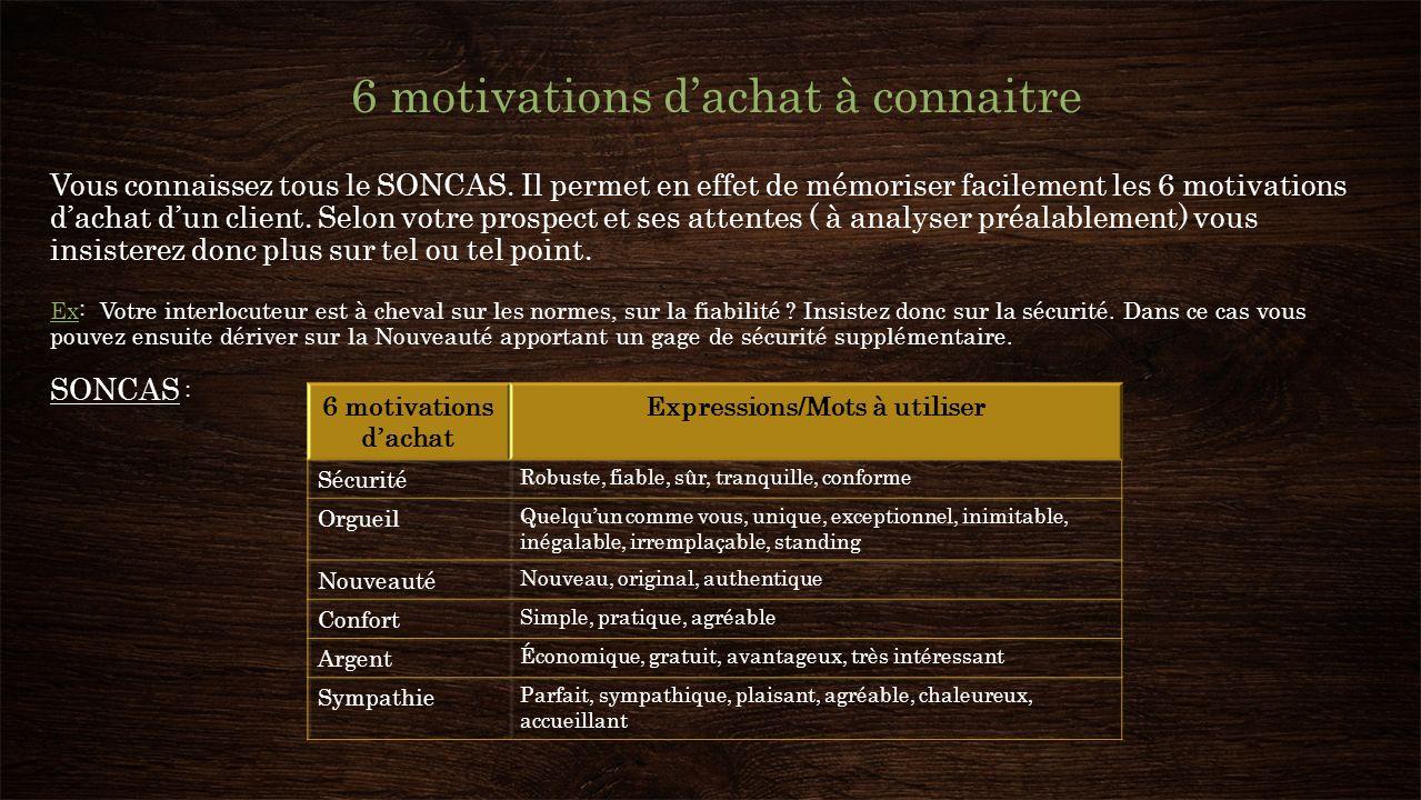 6 motivations dachat à connaitre Vous connaissez tous le SONCAS. Il permet en effet de mémoriser facilement les 6 motivations dachat dun client. Selon