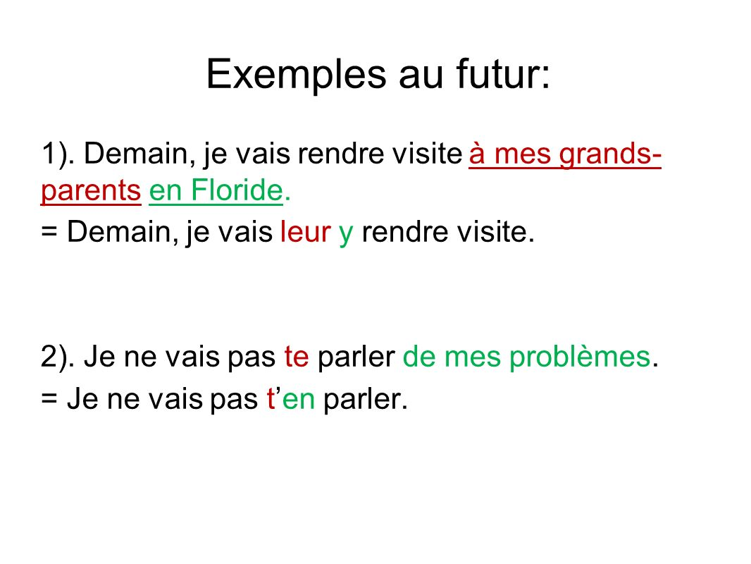 Exemples au futur: 1).Demain, je vais rendre visite à mes grands- parents en Floride.