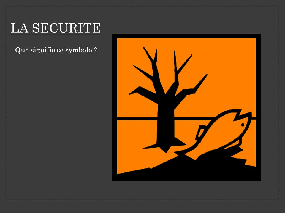 LA SECURITE Que signifie ce symbole ?