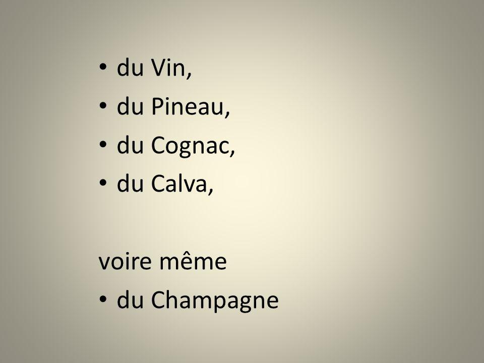 du Vin, du Pineau, du Cognac, du Calva, voire même du Champagne
