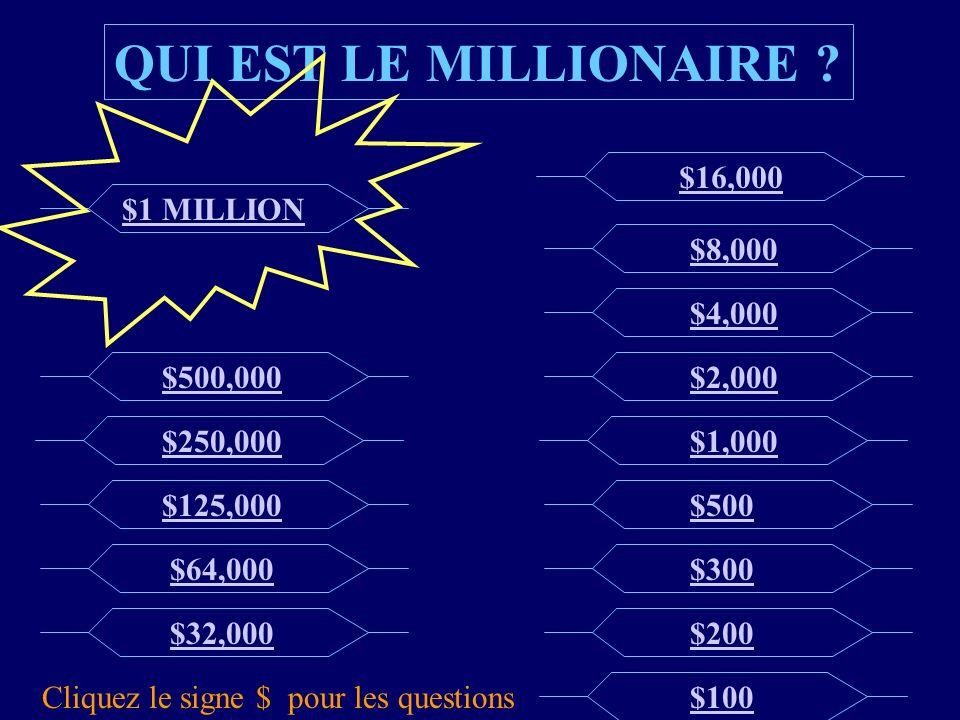 $500000 Question A: les éléphants A: B: les trapézistes B: C: les petites filles C: D: les femmes à barbe D: Question pour $500,000 Nous nous balançons très, très haut.