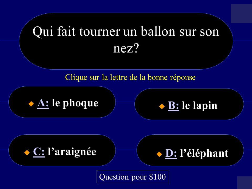 $64000 Question A: la diseuse de bonne avanture A: B: La femme à barbe B: C: le clown C: D: le singe D: Question pour $64,000 Jessaie de deviner votre avenir!.