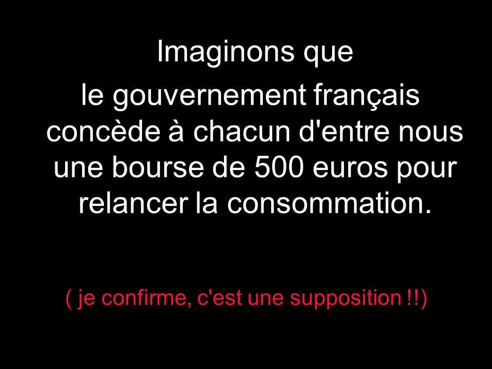 ) Imaginons que le gouvernement français concède à chacun d entre nous une bourse de 500 euros pour relancer la consommation.
