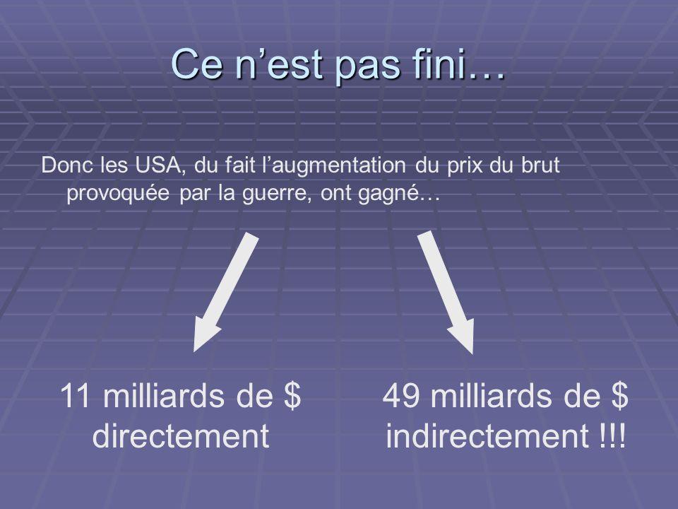Ce nest pas fini… Donc les USA, du fait laugmentation du prix du brut provoquée par la guerre, ont gagné… 11 milliards de $ directement 49 milliards de $ indirectement !!!