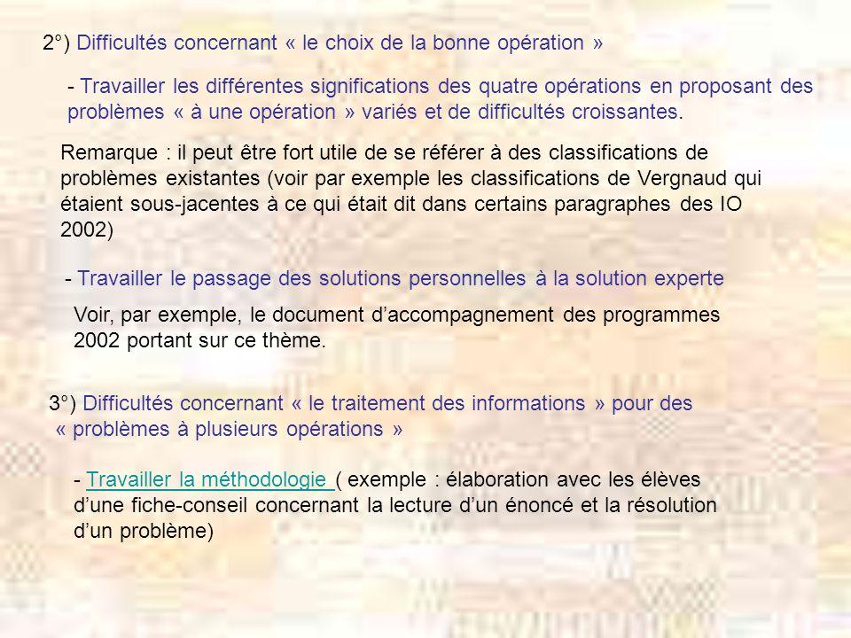 2°) Difficultés concernant « le choix de la bonne opération » - Travailler les différentes significations des quatre opérations en proposant des probl