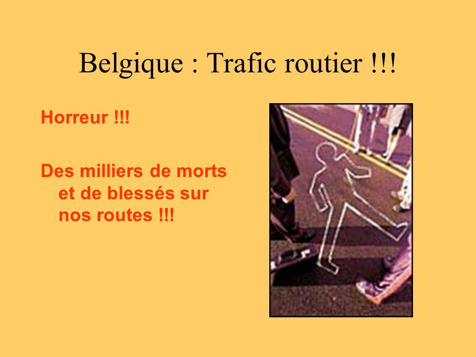 Belgique : Trafic routier !!! Horreur !!! Des milliers de morts et de blessés sur nos routes !!!