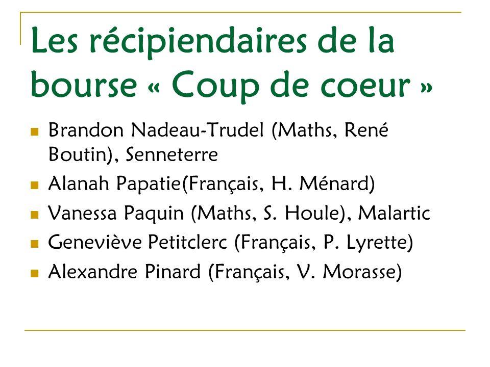 Les récipiendaires de la bourse « Coup de coeur » Brandon Nadeau-Trudel (Maths, René Boutin), Senneterre Alanah Papatie(Français, H.