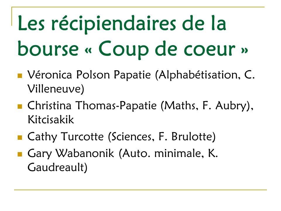 Les récipiendaires de la bourse « Coup de coeur » Véronica Polson Papatie (Alphabétisation, C.