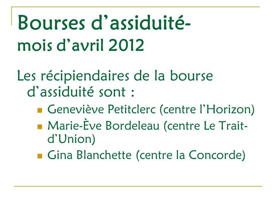 Bourses dassiduité- mois davril 2012 Les récipiendaires de la bourse dassiduité sont : Geneviève Petitclerc (centre lHorizon) Marie-Ève Bordeleau (centre Le Trait- dUnion) Gina Blanchette (centre la Concorde)