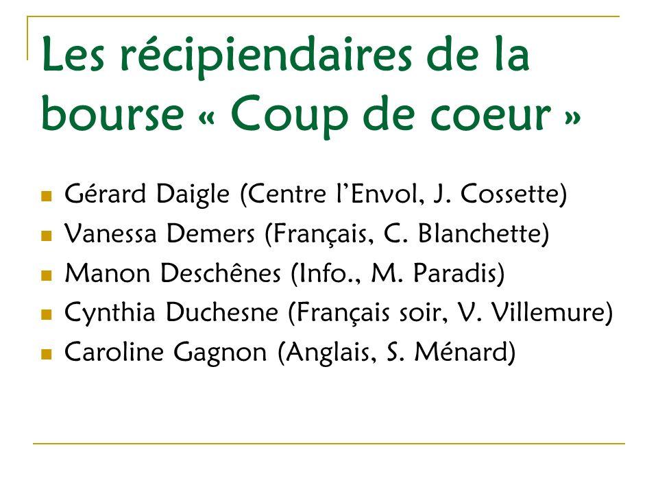 Les récipiendaires de la bourse « Coup de coeur » Caroline Grégoire (Insertion sociale, A.
