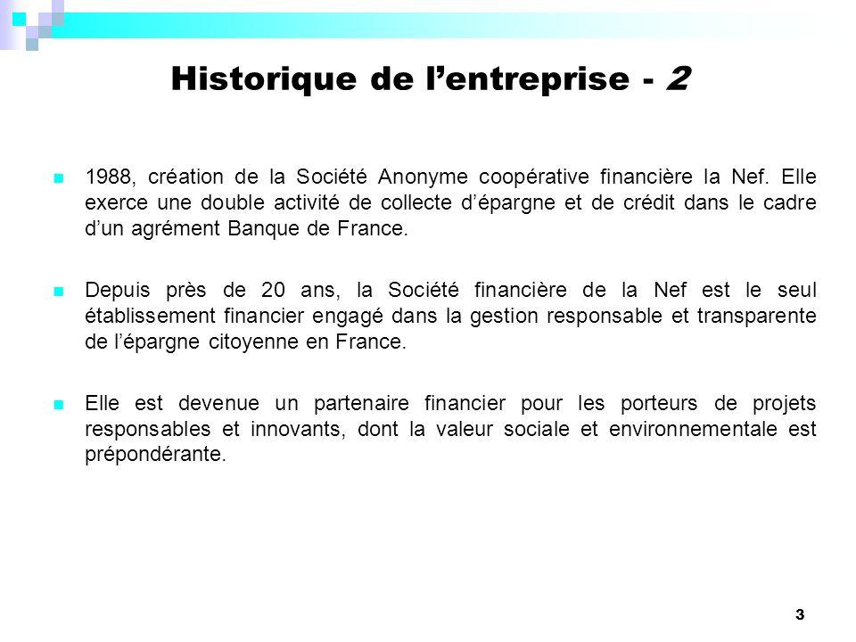 3 Historique de lentreprise - 2 1988, création de la Société Anonyme coopérative financière la Nef. Elle exerce une double activité de collecte déparg