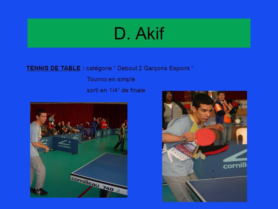 D. Akif TENNIS DE TABLE : catégorie Debout 2 Garçons Espoirs Tournoi en simple sorti en 1/4° de finale