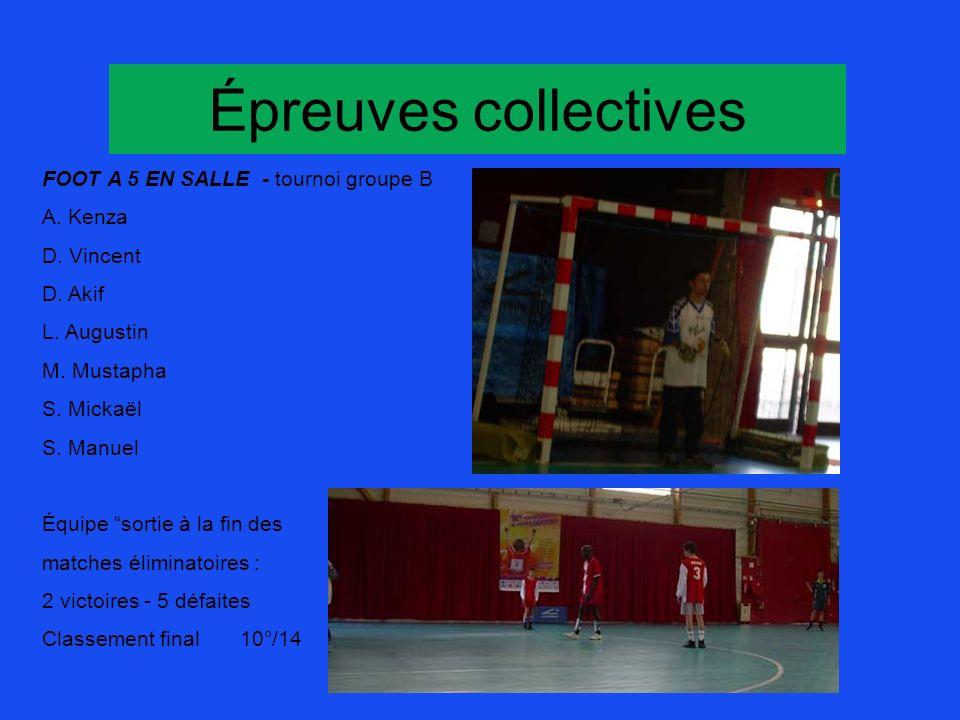 Épreuves collectives FOOT A 5 EN SALLE - tournoi groupe B A. Kenza D. Vincent D. Akif L. Augustin M. Mustapha S. Mickaël S. Manuel Équipe sortie à la