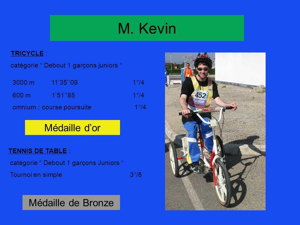 M. Kevin TRICYCLE : catégorie Debout 1 garçons juniors 3000 m 113509 1°/4 600 m 15185 1°/4 omnium : course poursuite 1°/4 Médaille dor Médaille de Bro