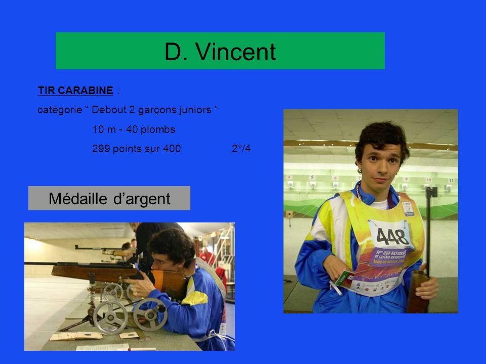 D. Vincent TIR CARABINE : catégorie Debout 2 garçons juniors 10 m - 40 plombs 299 points sur 4002°/4 Médaille dargent
