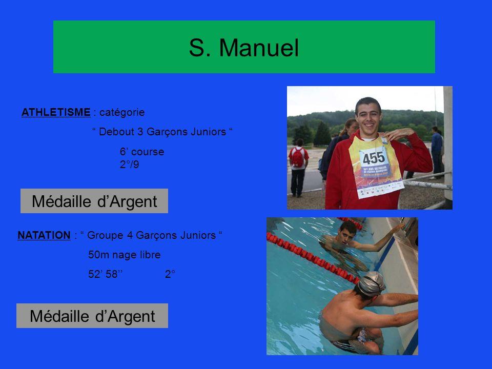 S. Manuel ATHLETISME : catégorie Debout 3 Garçons Juniors 6 course 2°/9 Médaille dArgent NATATION : Groupe 4 Garçons Juniors 50m nage libre 52 582° Mé