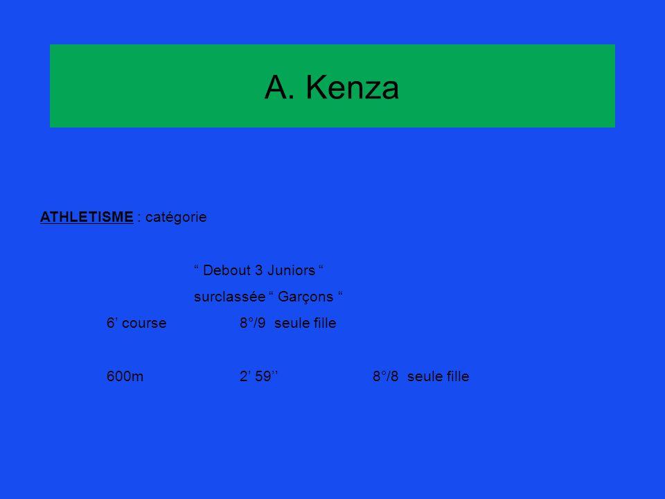 A. Kenza ATHLETISME : catégorie Debout 3 Juniors surclassée Garçons 6 course8°/9 seule fille 600m2 598°/8 seule fille