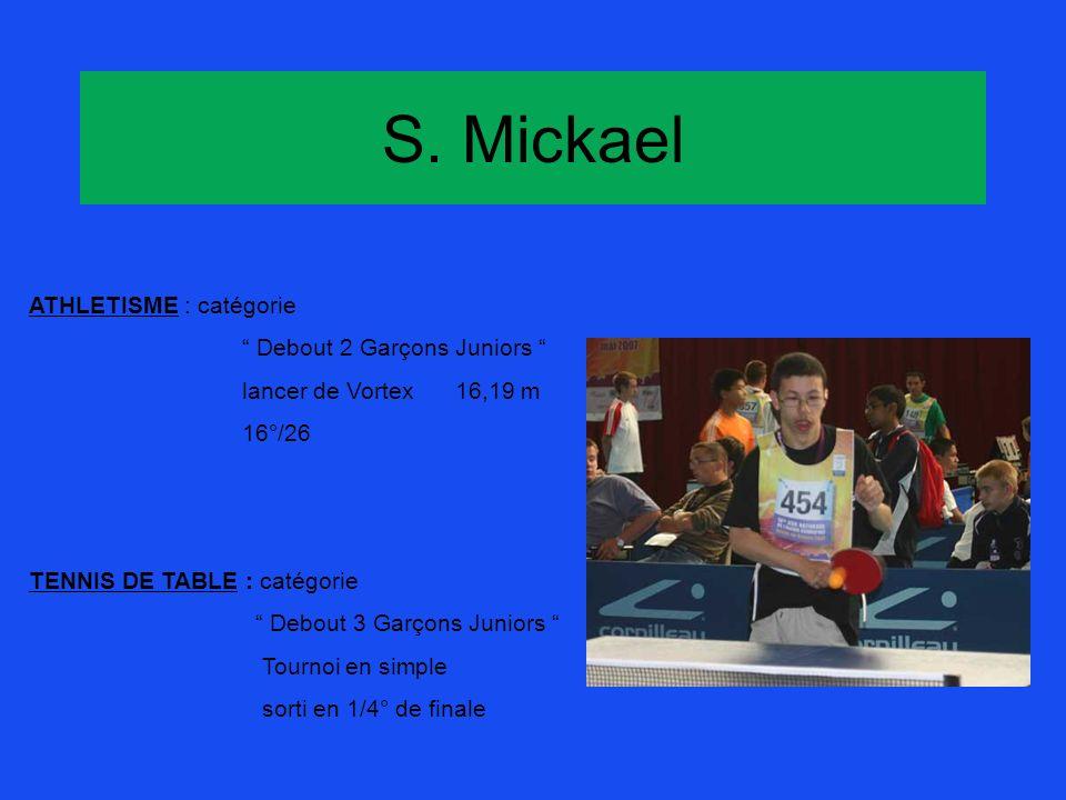 S. Mickael ATHLETISME : catégorie Debout 2 Garçons Juniors lancer de Vortex16,19 m 16°/26 TENNIS DE TABLE : catégorie Debout 3 Garçons Juniors Tournoi