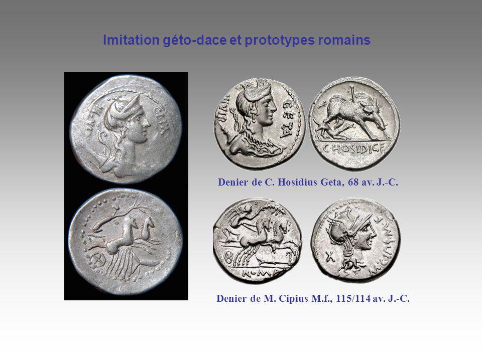 Imitation géto-dace et prototypes romains Denier de C. Hosidius Geta, 68 av. J.-C. Denier de M. Cipius M.f., 115/114 av. J.-C.