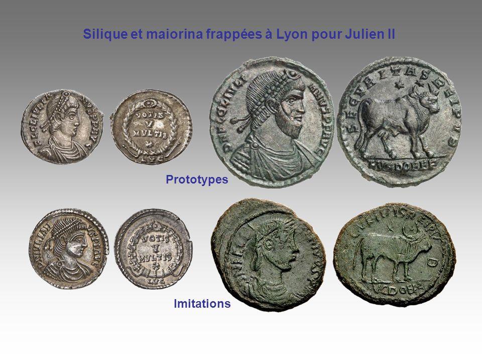 Imitations Prototypes Silique et maiorina frappées à Lyon pour Julien II
