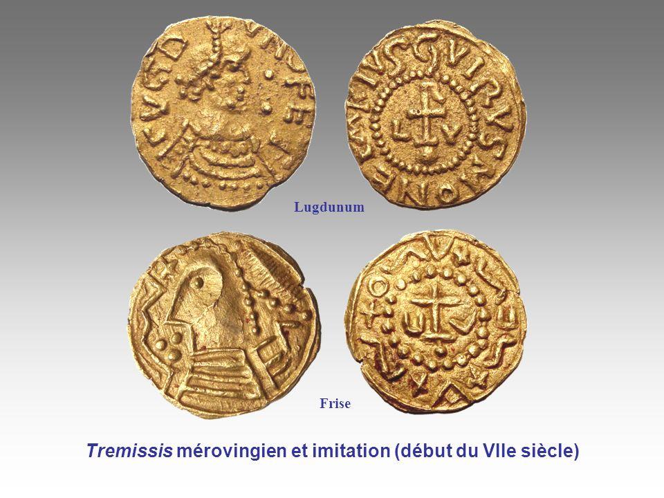 Lugdunum Tremissis mérovingien et imitation (début du VIIe siècle) Frise