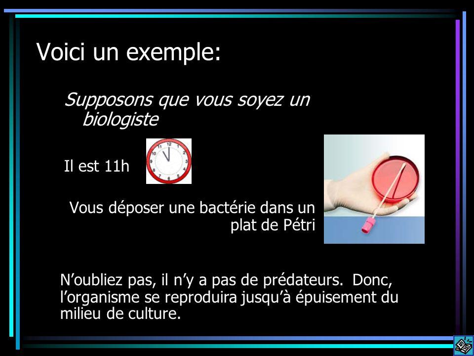 Voici un exemple: Supposons que vous soyez un biologiste Il est 11h Vous déposer une bactérie dans un plat de Pétri Noubliez pas, il ny a pas de préda