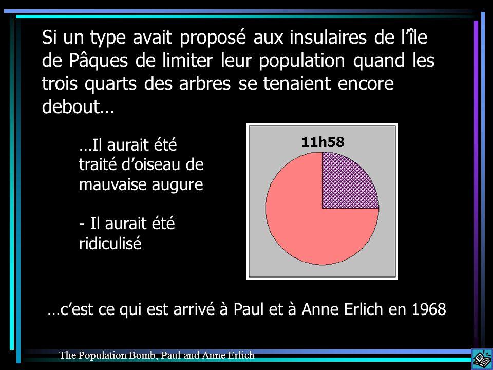Si un type avait proposé aux insulaires de lîle de Pâques de limiter leur population quand les trois quarts des arbres se tenaient encore debout… …Il aurait été traité doiseau de mauvaise augure - Il aurait été ridiculisé …cest ce qui est arrivé à Paul et à Anne Erlich en 1968 The Population Bomb, Paul and Anne Erlich 11h58