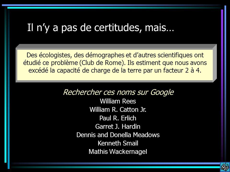Il ny a pas de certitudes, mais… Des écologistes, des démographes et dautres scientifiques ont étudié ce problème (Club de Rome).