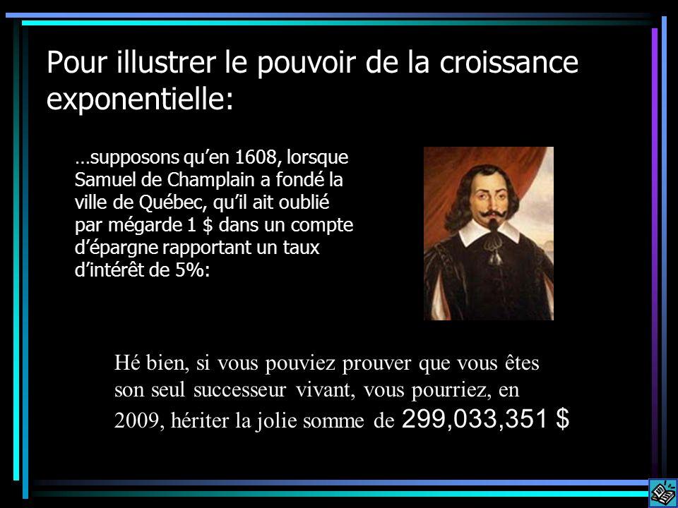 Pour illustrer le pouvoir de la croissance exponentielle: …supposons quen 1608, lorsque Samuel de Champlain a fondé la ville de Québec, quil ait oubli