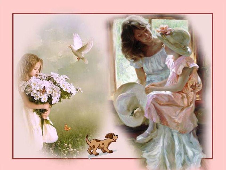 La petite fille est assise près de la fenêtre, Elle est triste… Elle pense à sa Maman.