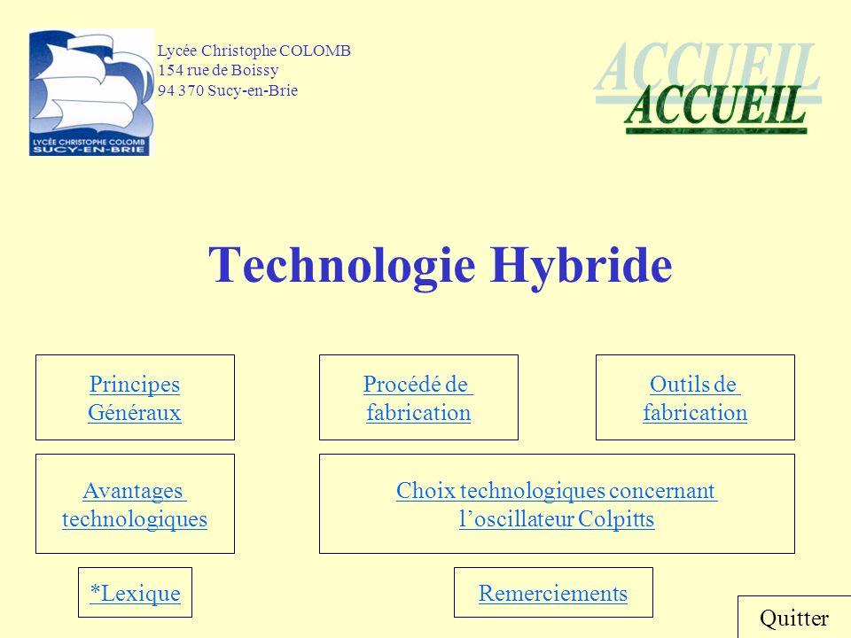 Accueil Principes Généraux « Définition de la technologie Hybride » Un sous-système électronique dans lequel quelques circuits intégrés (empaqueté ou non) et des composants discrets sont attachés directement à un substrat commun.