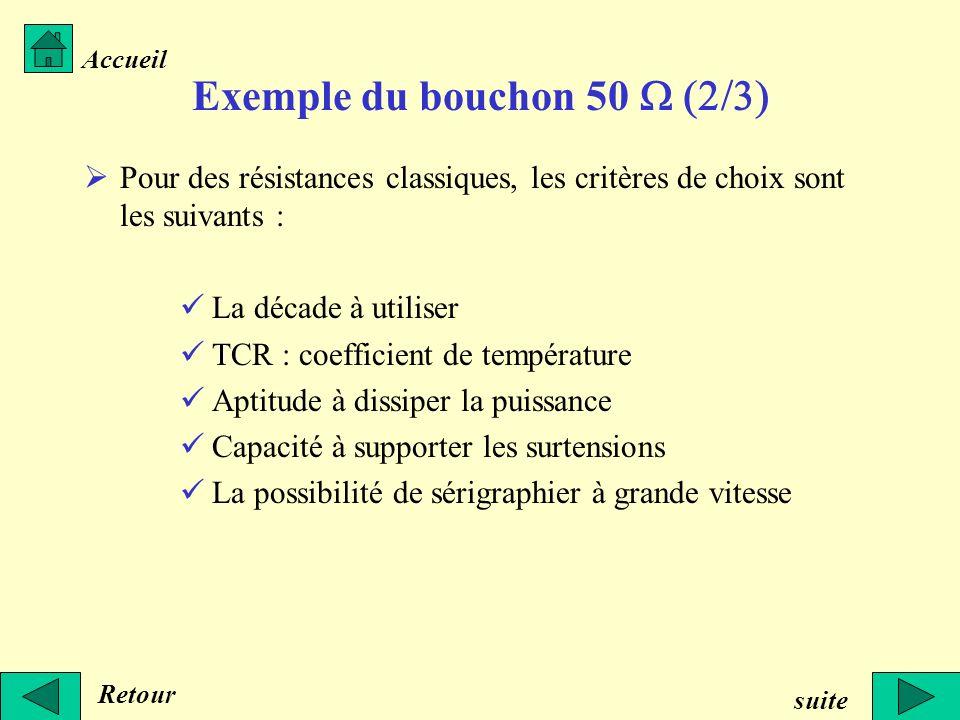 Exemple du bouchon 50 Pour des résistances classiques, les critères de choix sont les suivants : La décade à utiliser TCR : coefficient de température