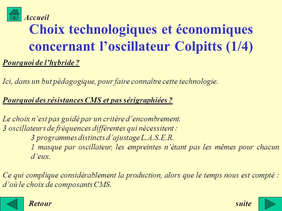 Choix technologiques et économiques concernant loscillateur Colpitts (1/4) Retour Accueil suite Pourquoi de lhybride ? Ici, dans un but pédagogique, p
