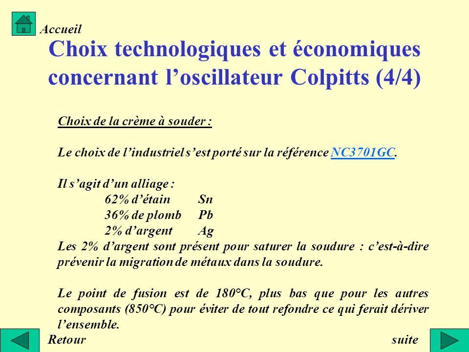 Choix technologiques et économiques concernant loscillateur Colpitts (4/4) Choix de la crème à souder : Le choix de lindustriel sest porté sur la réfé