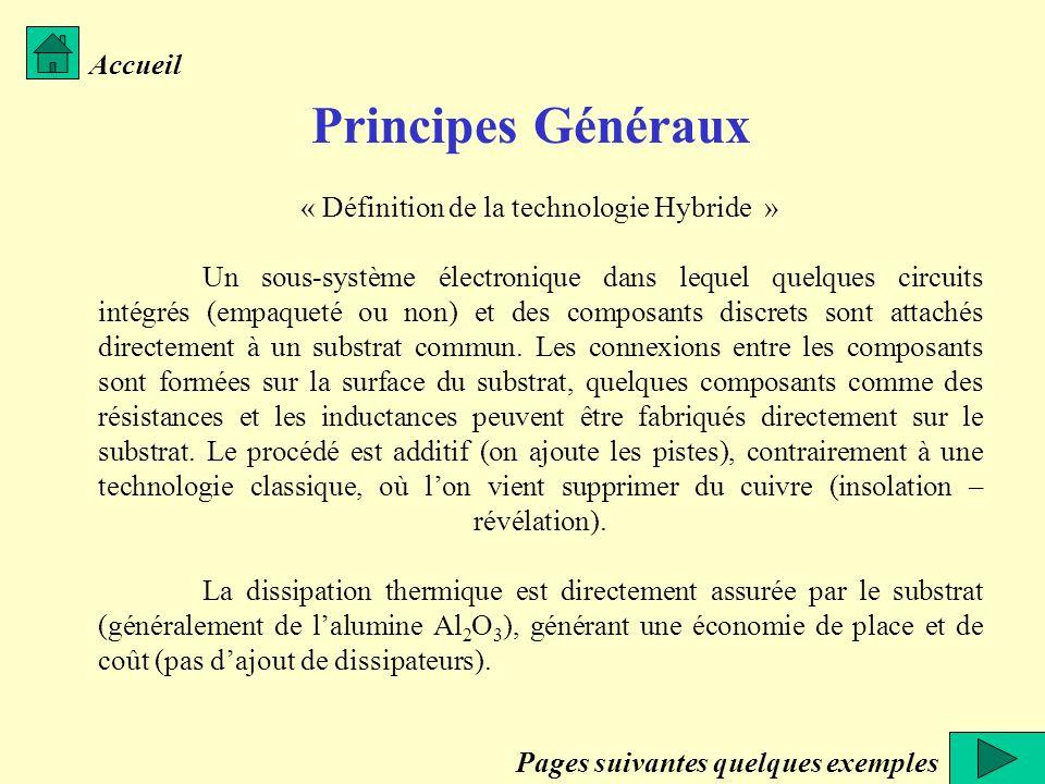 Accueil Principes Généraux « Définition de la technologie Hybride » Un sous-système électronique dans lequel quelques circuits intégrés (empaqueté ou