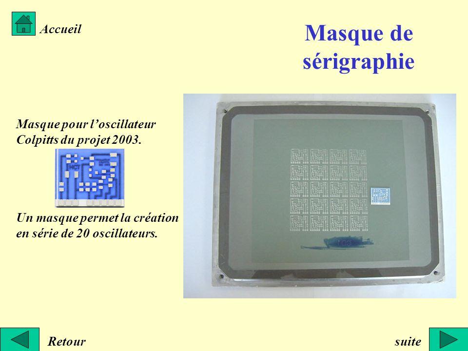 Retour Accueil Masque pour loscillateur Colpitts du projet 2003. Un masque permet la création en série de 20 oscillateurs. suite