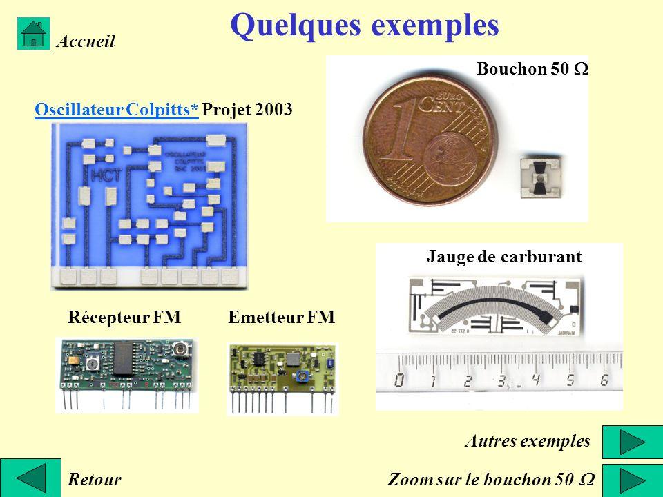 Quelques exemples Retour Accueil Oscillateur Colpitts*Oscillateur Colpitts* Projet 2003 Bouchon 50 Jauge de carburant Récepteur FMEmetteur FM Zoom sur