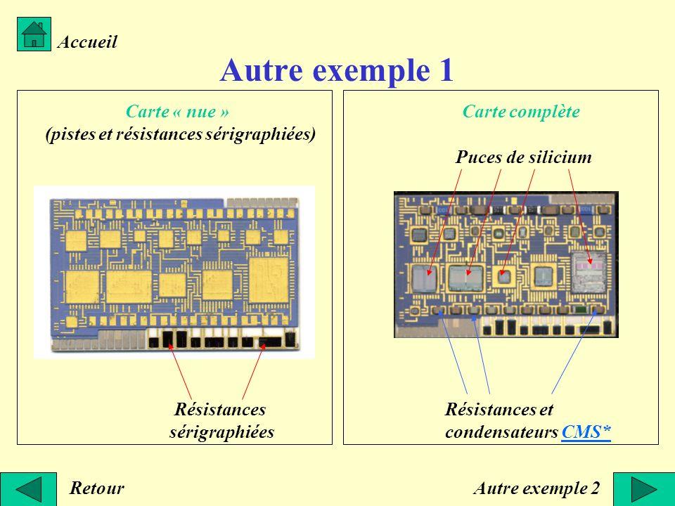Autre exemple 1 Accueil Retour Carte « nue » (pistes et résistances sérigraphiées) Carte complète Résistances et condensateurs CMS*CMS* Résistances sé