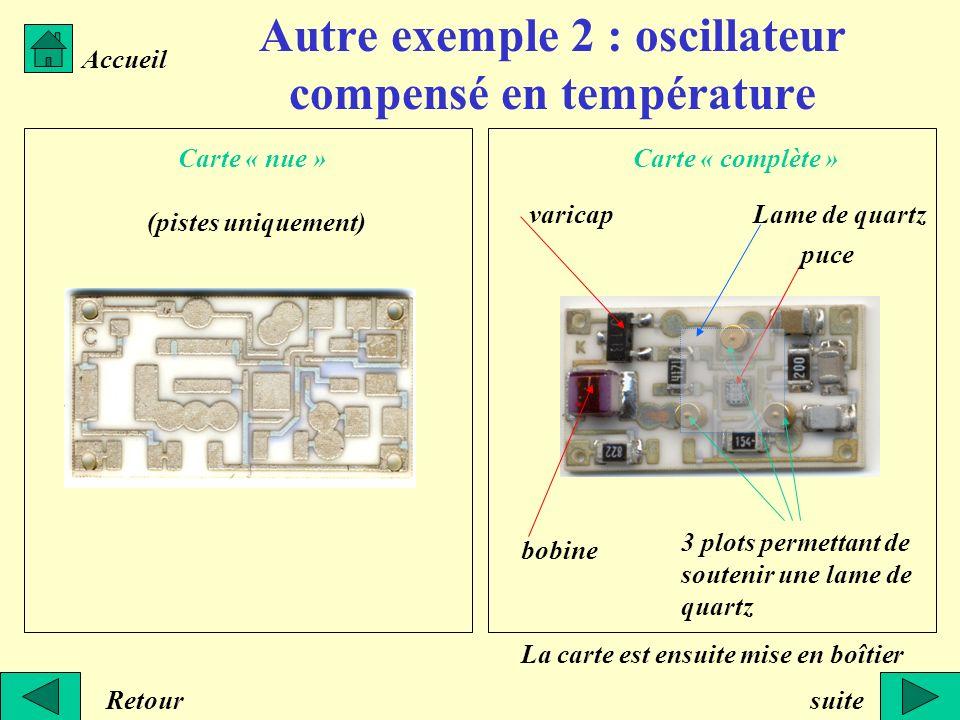 Autre exemple 2 : oscillateur compensé en température Accueil Retour Carte « nue » (pistes uniquement) Carte « complète » bobine varicap puce 3 plots