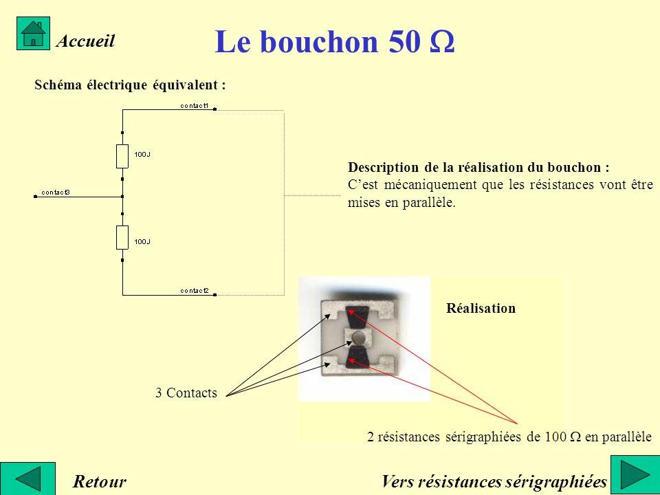 Le bouchon 50 Accueil Schéma électrique équivalent : Description de la réalisation du bouchon : Cest mécaniquement que les résistances vont être mises