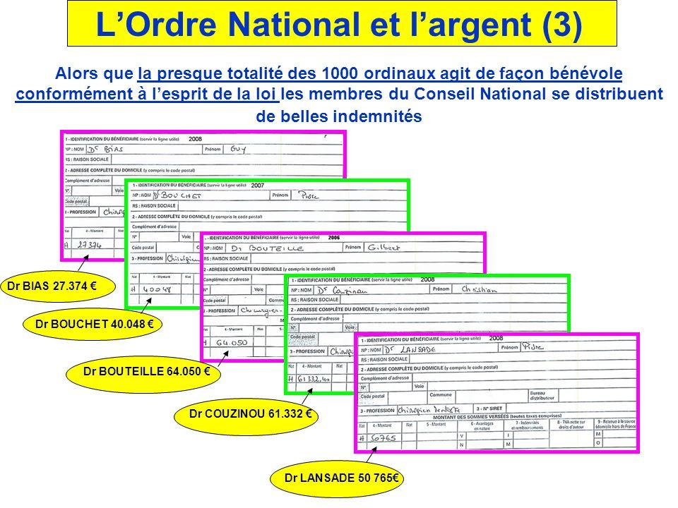 Selon un ancien Trésorier adjoint de lOrdre National : « Un membre du Bureau en exercice perçoit 530 euros par jour de présence effective, un membre d