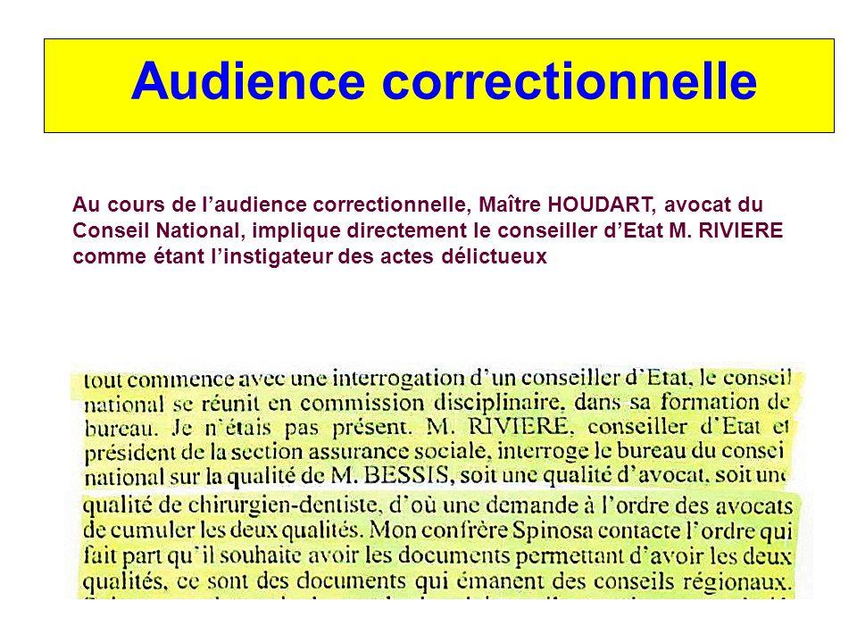 Audience correctionnelle Au cours de laudience correctionnelle, Maître HOUDART, avocat du Conseil National, implique directement le conseiller dEtat M.