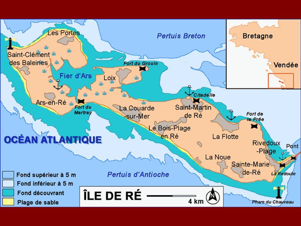 L Île de Ré est située sur la façade ouest de la France, au beau milieu de la rive Atlantique, au large des côtes de la Charente-Maritime et au sud de